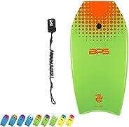 BPS 'Shaka' Bodyboard with Wrist Leash - Strong TPU Wrist Leash and Constructed with HPDE Slic