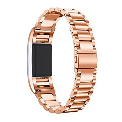 Fitbit Charge 2 Wrist Band, AnsTOP Stainless Steel Metal Replacement Smart Watch Band Bracelet with Folding Clasp for Fitbit Charge 2 (Rose Gold)