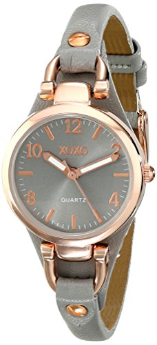 XOXO Women's Analog Watch with Rose Gold-Tone Case, Gray Sunray Dial, Narrow Gray Leather Strap - Official XOXO Woman's Rose-Gold Watch - Model: -