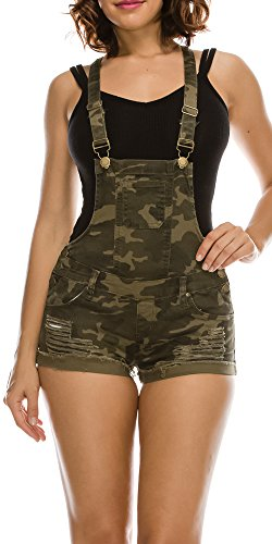 TwiinSisters Women's Destroyed Slim Curvy Pants Plus Size Short Overalls (X-Large, Camo #Rjso937) - Camouflage Outfit