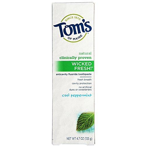 (Tom's of Maine Natural Wicked Fresh Fluoride Toothpaste Cool Peppermint 4.70 oz (Pack of 4))
