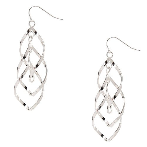 Double Swirl Earrings (Claire's Girl's Silver-tone Double Swirl Drop Earrings)