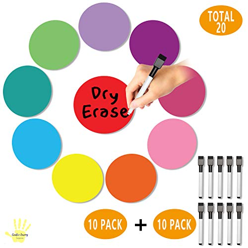 Removable Multi-Colored Vinyl Dry Erase Circles + 10 FREE Dry Erase Markers with Erasers BUNDLE PACK! Perfect for Students and Teachers in Classroom and/or Homeschooling
