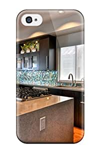 High Impact Dirt/shock Proof Case Cover For Iphone 4/4s (contemporary Kitchen With Quartz Island And Range)