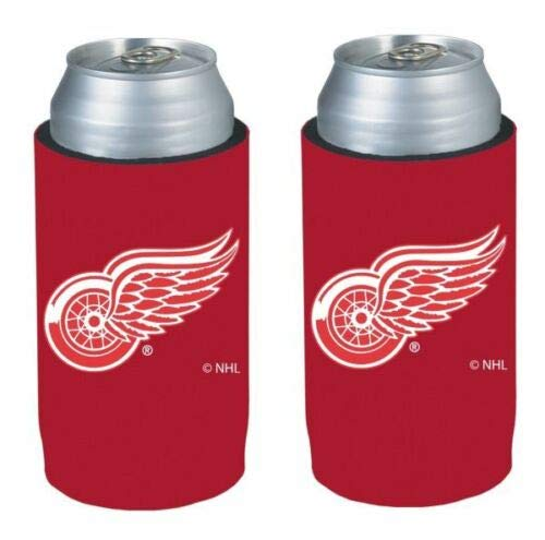 NHL Hockey Team Logo Ultra Slim 12oz Neoprene Beer Can Holder Sleeve 2-Pack (Detroit Red Wings)