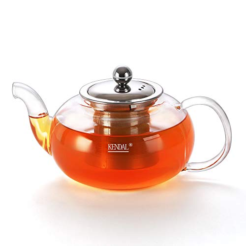 (Kendal Glass Teapot with Stainless Steel Infuser, Stovetop Safe Tea Maker 27 oz DH800 )