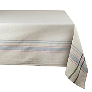 "DII 100% Cotton, Machine Washable, Everyday French Stripe Kitchen Tablecloth For Dinner Parties, Summer & Outdoor Picnics - 60x120"" Seats 10 to 12 People, Gray"
