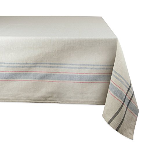 "DII 100% Cotton, Machine Washable, Everyday French Stripe Kitchen Tablecloth For Dinner Parties, Summer & Outdoor Picnics - 60x104"" Seats 8 to 10 People, Gray"