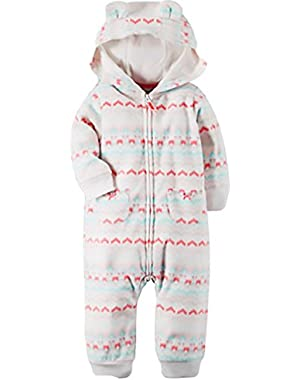 Carters Baby Girl Jumpsuite, Pink/white, Size 12 Months
