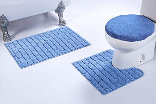 light blue bath rug set - 8
