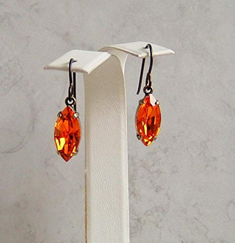 Tangerine Orange Marquise Oval Made with Swarovski Crystal Black Plated Brass Niobium Halloween Earrings Gift -