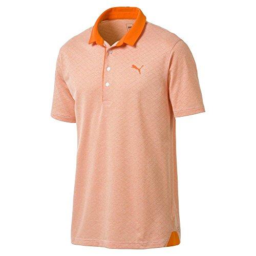 (PUMA Golf Men's 2018 Diamond Jacquard Polo, Large, Vibrant Orange Heath)