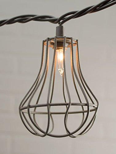 Metal Cage String Lights Nautical Patio Lanterns Brown