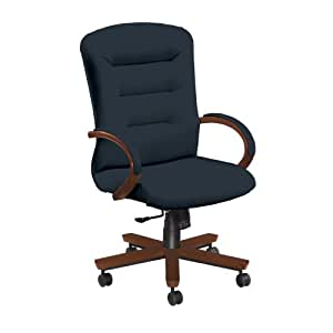National Office Furniture Remedy High Back Executive Wood Office Chair, Amber Cherry, Navy Faux Leather