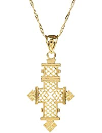 Gold Plated Filled Ethiopian Cross Pendant Necklaces Chain