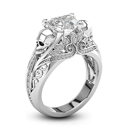 High Polished Skull Rings for Women Heart Cubic Zirconia Rings Size 7 Wedding Engagement Rings Lotus Band