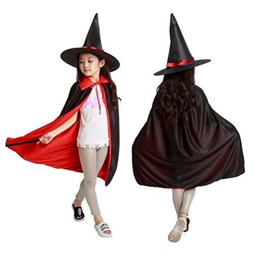 Dolloly Halloween Cape Cloak for Kids Reversible Cape with Hat Halloween Costume (Mystical Sorceress Costume)