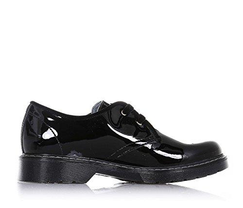 NERO GIARDINI - Chaussure à l'anglaise à lacets noire, en cuir brillant, lacets en velours, coutures visibles et semelle en caoutchouc, fille, filles, femme, femmes
