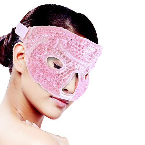 Clean Face And Neck - Ice Face/Eye Mask for Woman Man, Hot/Cold Reusable Gel Beads ice Pack with Soft Plush Backing,Hot Cold Therapy for Facial Pain,sleeping,Swelling,Migraines, Headaches,Stress Relief[Pink]