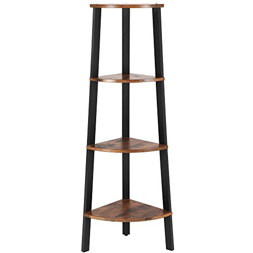 VASAGLE Industrial Corner Shelf, 4-Tier Bookcase, Storage Rack Plant Stand for Home Office, Wood Look Accent Furniture with Metal Frame ULLS34X, Rustic Brown