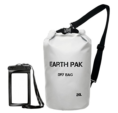 Earth Pak Waterproof Dry Bag - Roll Top Dry Compression Sack Keeps Gear Dry for Kayaking, Beach, Rafting, Boating, Hiking, Camping and Fishing with Waterproof Phone Case (Dry Compression Bag)