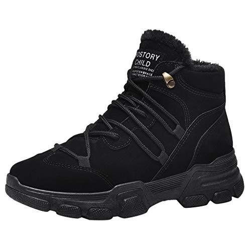ANJUNIE Women Winter Plush Velvet Warm Bootie Casual Cotton Shoes Lace Up Flat Sneakers