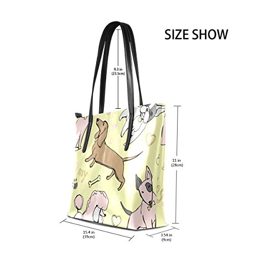 I Shoulder Totes Dachshund Bulldog Purses My Poodle Handle Love PU TIZORAX Handbag Pug Women's Doggy Bags Fashion Leather Top dwTq4gZS