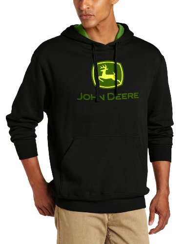 John Deere Men's Trademark Logo Core Hood Pullover Fleece, Black X-Large