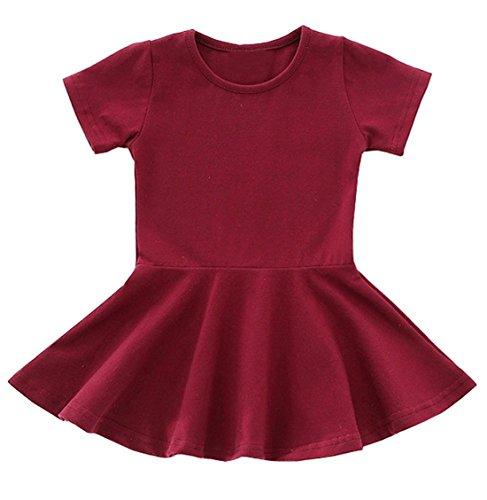 lymanchi Baby Girl Dresses Short Sleeve Toddler Girl Ruffle Infant Cotton Cute Dress Wine Red 18/24M ()