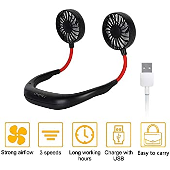 Hand Free Personal Fan, CHERIEY Neckband Fan Portable Mini Double Fans with USB Rechargeable, 3 Speeds Adjustable Wearable Fan for Home Office Travel Indoor Outdoor Activities
