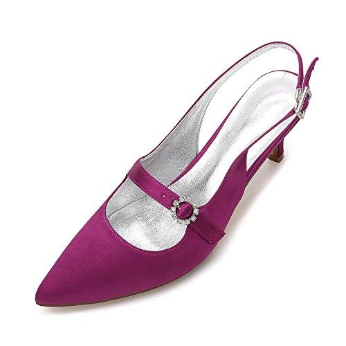 L@YC Damen Damen High Heel Low Mid Kätzchen Plattform Blume Hochzeit Braut Prom Abendschuhe Größe 99634-12 Purple