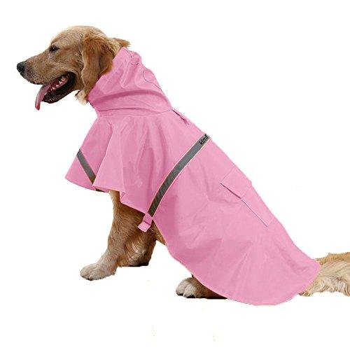 Kimfoxes Dog Raincoats Fashion Dog Rain Poncho Reflective Strips and PU Waterproof Raincoat for Dogs(M,Pink) by Kimfoxes (Image #1)