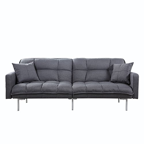 Divano Roma Furniture Collection - Modern Plush Tufted Linen Fabric Splitback Living Room Sleeper Futon (Dark Grey)