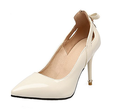 Shoes Toe Leather Closed Women's WeenFashion Heels High Pumps Patent Beige Pointed ZzYI0q