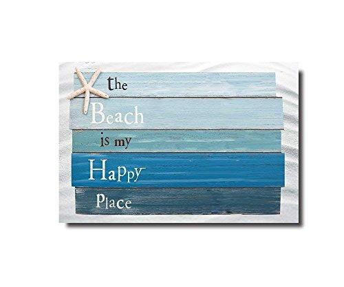 Beach Themed Doormats Rugs-The Beach Is My Happy Place - Plank Board Sign with Starfish Non-Slip Indoor/Outdoor/Front Door/Bathroom Mats 23.6x15.7inch