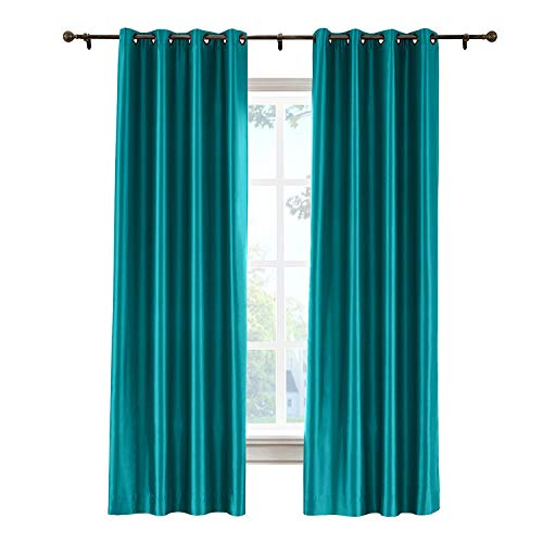 cololeaf Vintage Textured Faux Dupioni Silk Curtain Panel for Bedroom Living Room Hotel Restaurant, Peacock 52W x 96L Inch (1 Panel) (Silk Curtains Dupioni Striped)
