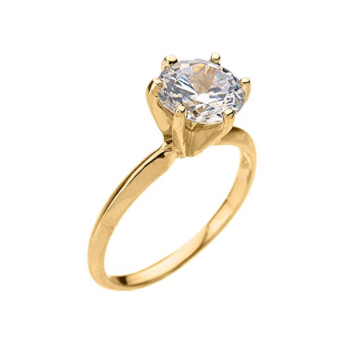 10k Yellow Gold 3.0 ct Cubic Zirconia Solitaire Engagement Ring(Size 7.5)