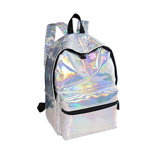 EBTOYS Girls School Bag School Backpack Holographic Laser PU Leather School Bookbag Travel Casual Daypack (Sliver) [並行輸入品]   B078WWDHD1