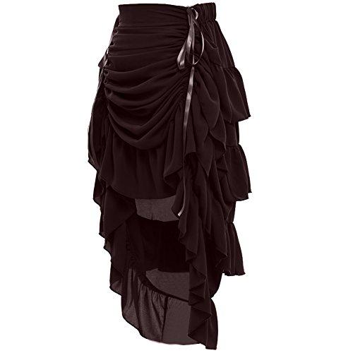 GRACEART Women's Victorian Steampunk Skirt - (Brown) Large