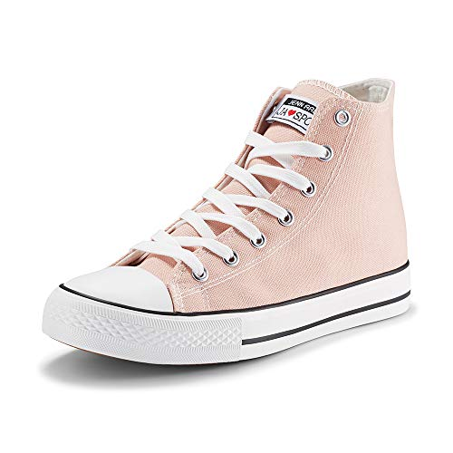 JENN ARDOR Women's Fashion Sneakers Canvas Shoes high top Lace-up Classic Casual Flat Walking Shoes Pink 7 US