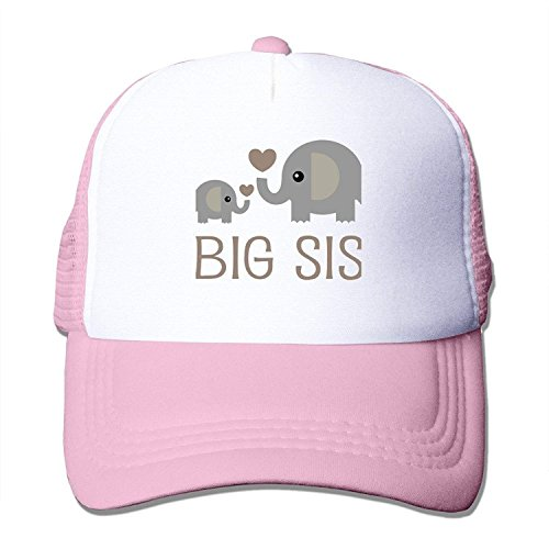 HuaXuAgr Ocean Blue Girls Elephant Big Sister Mesh Trucker Baseball Cap Hat 4-13 Years Old