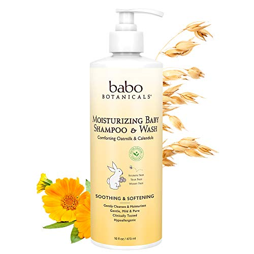 Babo Botanicals Moisturizing Baby Shampoo and Wash Oatmilk Calendula, 16 Ounce