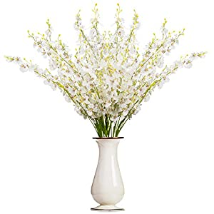 Bosslandy Faux Orchid Flowers Artificial Dancing Lady Orchids 10 Pcs Silk Fake Flower Real Touch for Wedding Home Party Decor Butterfly Flower Arrangement(White)