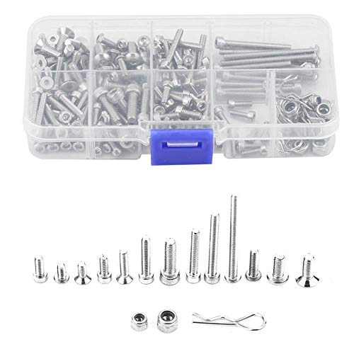 (Dilwe RC Screw Kit, Metal Stainless Steel Screw Kit with Box for Traxxas Slash 4x4 Short Truck Car Remote Control Spare Parts Accessory Fix Component)