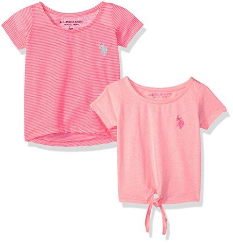 - U.S. Polo Assn. Baby Girls 2 T-Shirt, Pack neon Pink Stripe Apricot Jersey Multi, 18M