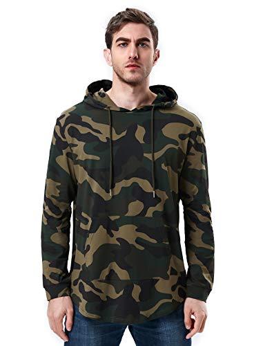 Bertte Mens Hipster Hip Hop Elong Longline Hoodie Side Zipper Long Sleeve T-Shirt (Small, Camouflage- Long Sleeve)