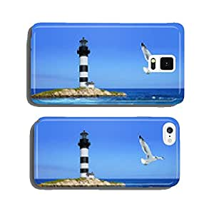 lighthouse on rocks, sea coast, flying seagull cell phone cover case Samsung S5