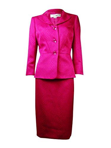 Le Suit Womens Plus Snake Print 2PC Skirt Suit Pink 18W