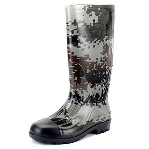 JOINFREE Men's Non-Slip Garden Shoes Casual Rain Boots Waterproof Shoes Gray Camo 9 M US ()