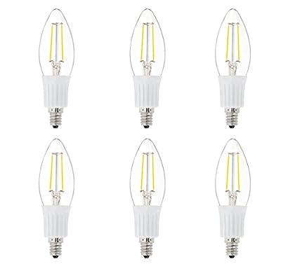 6 Pack DC 12V E12 Candle Chandelier Warm White 2700k 2 Watt LED Edison Filament C35 Light Bulb MES Mini Base Lamp Low Voltage Pendant Outdoor Landscaping Post Rail Porch Lighting